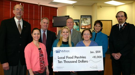 Rollstone Bank & Trust donates $10,000 to food pantries