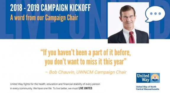 Bob Chauvin excited to kick off the United Way's 2018-2019 Campaign